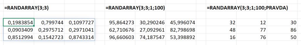Funkce RANDARRAY a její základní použití.