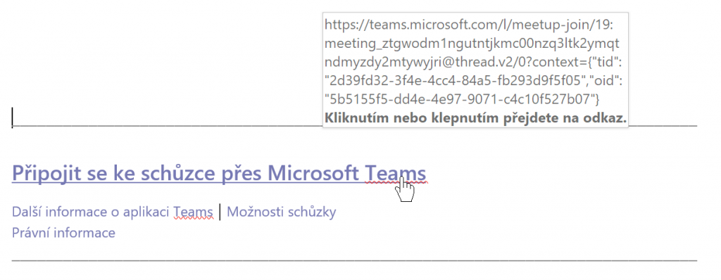 Hypertextový odkaz na Teams schůzku.