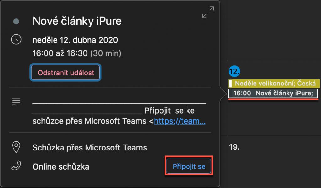 Připojení ke schůzce Teams v Outlooku pro Mac