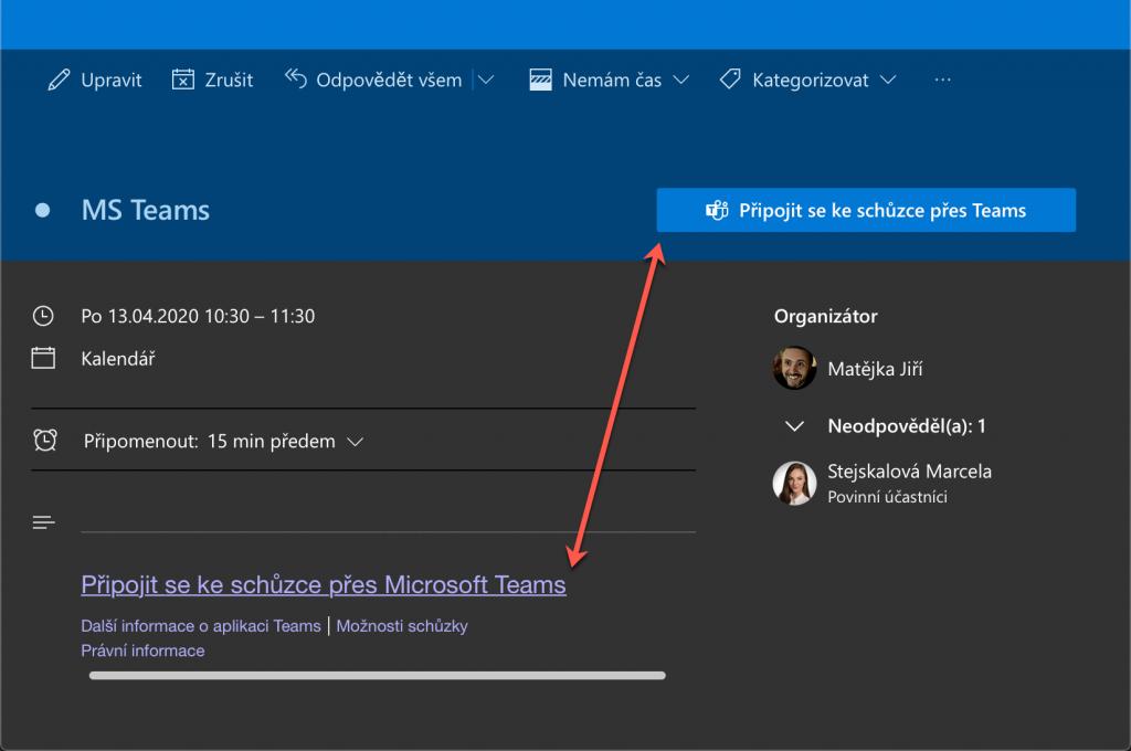 Připojení ke schůzce Teams v Outlooku pro web