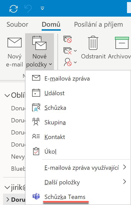 Vytvoření schůzky Teams v Outlooku pro Windows